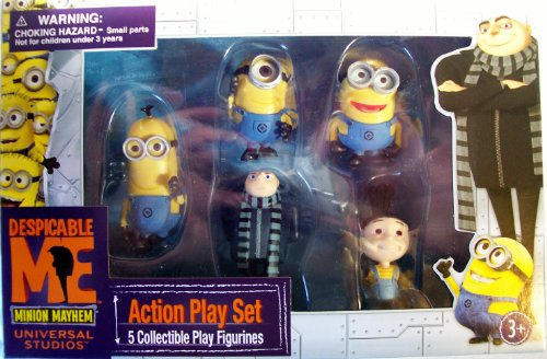 Despicable Me Action Play Set 5 Collectible Play Figures (Features Gru , Agnes , and 3 Minions) 1 1 2 by