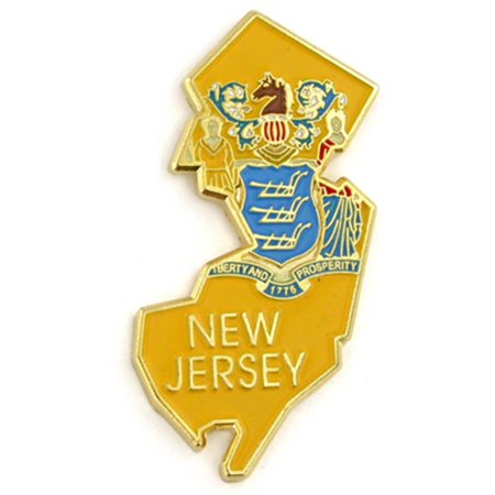 PinMart's State Shape of New Jersey  and New Jersey Flag Lapel (Jersey Style Pin)