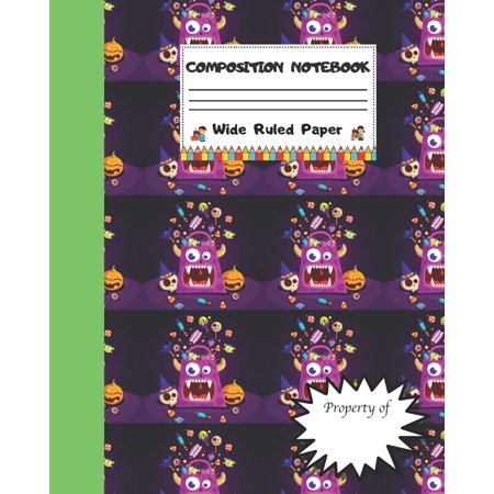 Halloween Treat For Work (Composition Notebook Wide Ruled Paper : Scary Halloween Candy Themed Journal - Fun Gift for Girls Boys Teens Teachers & Students - Blank Lined Workbook for Work or School. Trick)