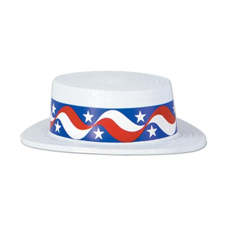 Club Pack of 24 Red, White and Blue Patriotic Skimmer Hat with Star Band Costume Accessories