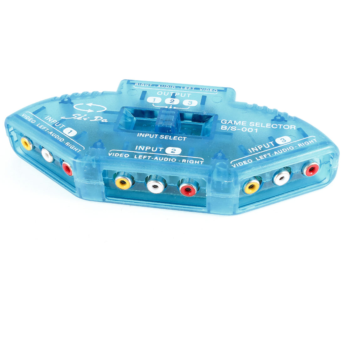 Unique Bargains Clear Blue 3 Input 1 Output Composite AV Switch Selector w RCA Cable