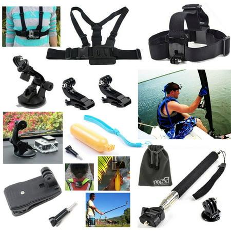 Eeekit 12In1 Outdoor Sport Accessories Bundle Kit For Gopro Hero4 Silver Black Hero 5 4 3  3 2 Session Lcd Camera