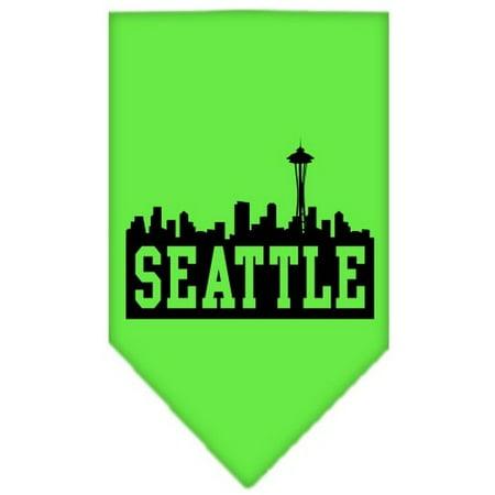 Seattle Skyline Screen Print Bandana Lime Green Large - Green Bandanna