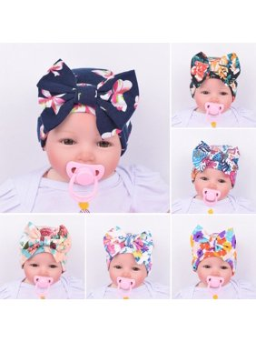 Newborn Infant Toddler Girls Baby Floral Bowknot Beanie Hat Comfys Hospital Cap