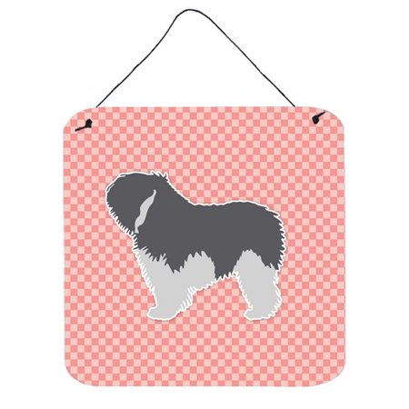 Polish Lowland Sheepdog Dog Checkerboard Pink Wall or Door Hanging Prints