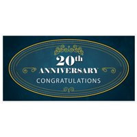20th Anniversary Banner Teal and Gold Party Decoration Backdrop