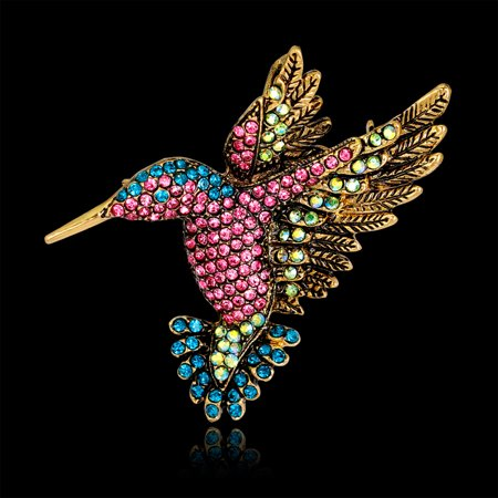 - Girl12Queen Women Vintage Rhinestone Multi-Color Hummingbirds Bouquet Jewelry Brooch Pin