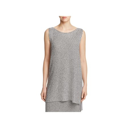 Eileen Fisher Womens Petites Tencel Hi-Low Tunic Sweater