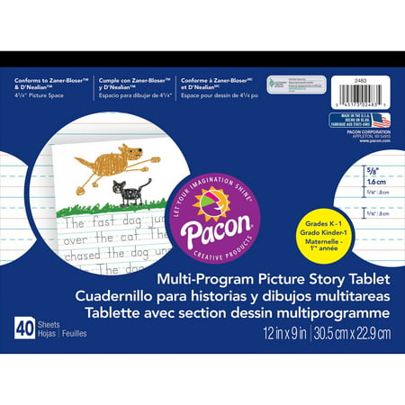 (2 Pack) Pacon Handwriting Paper Tablet with Picture Story Space, Grades K & 1, Ruled Long, 40 Sheets