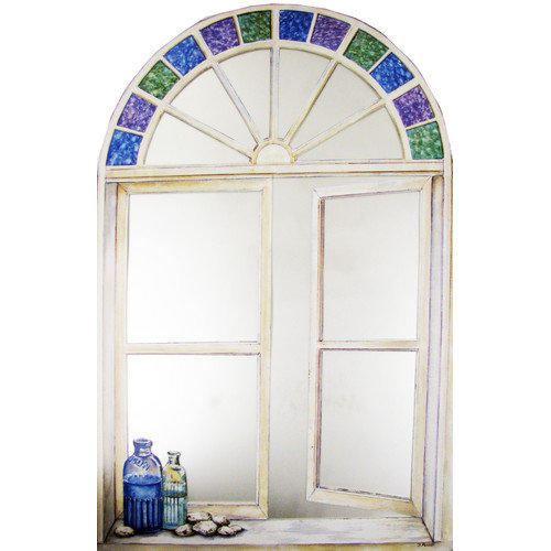 Stupell Industries Bottles and Stained Glass Faux Window Mirror