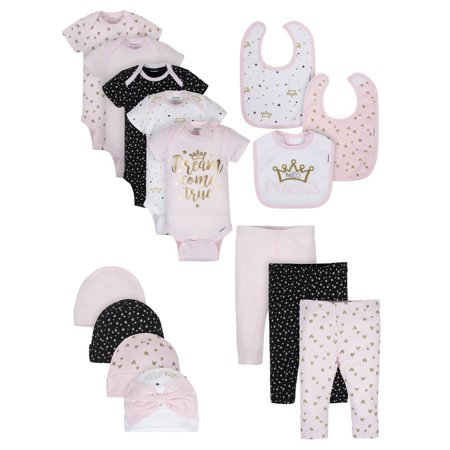 Gerber Organic Onesies Bodysuits, Pants, Caps, and Bibs Outfit Set, 15pc (Baby Girls) (Glitter Onesie)