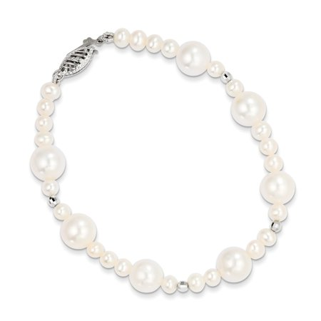 Solid 14k White Gold 8.5-9mm FW Cultured Pearl with Mirror Bead Bracelet 7.5""