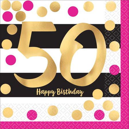 Over the Hill 'Hot Pink and Gold' 50th Birthday Lunch Napkins (16ct) - 50th Birthday Napkins Personalized