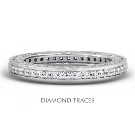 Platinum Pave Diamond Setting - Diamond Traces UD-EWB452-8917 Platinum 950 Pave Setting 0.64 Carat Total Natural Diamonds Vintage Eternity Ring