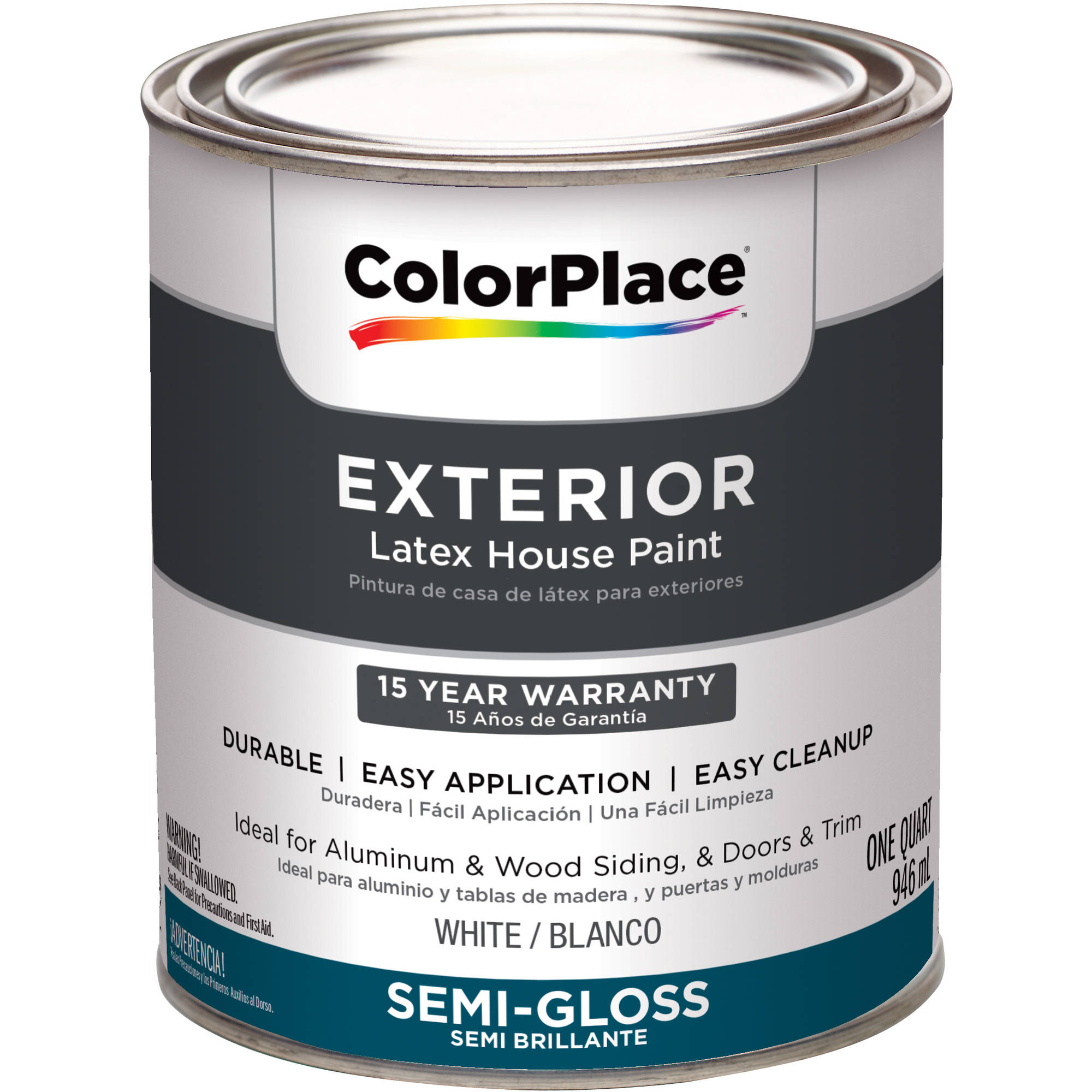 ColorPlace Exterior Paint White Semi Gloss 1 Quart Walmartcom