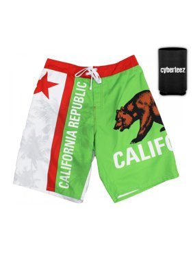California Flag Men's Board Shorts Swim Trunks + Coolie (S)