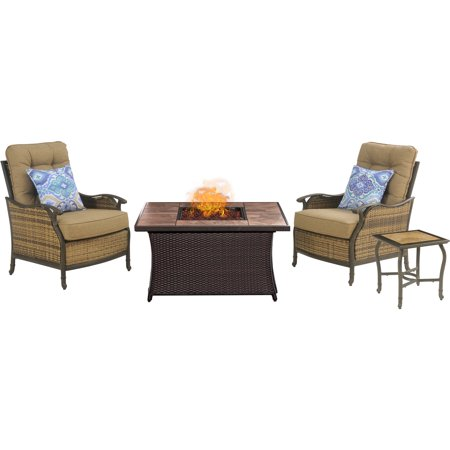 Hanover Hudson Square Fire Pit Chat Set with Faux-Stone Tile Top ()