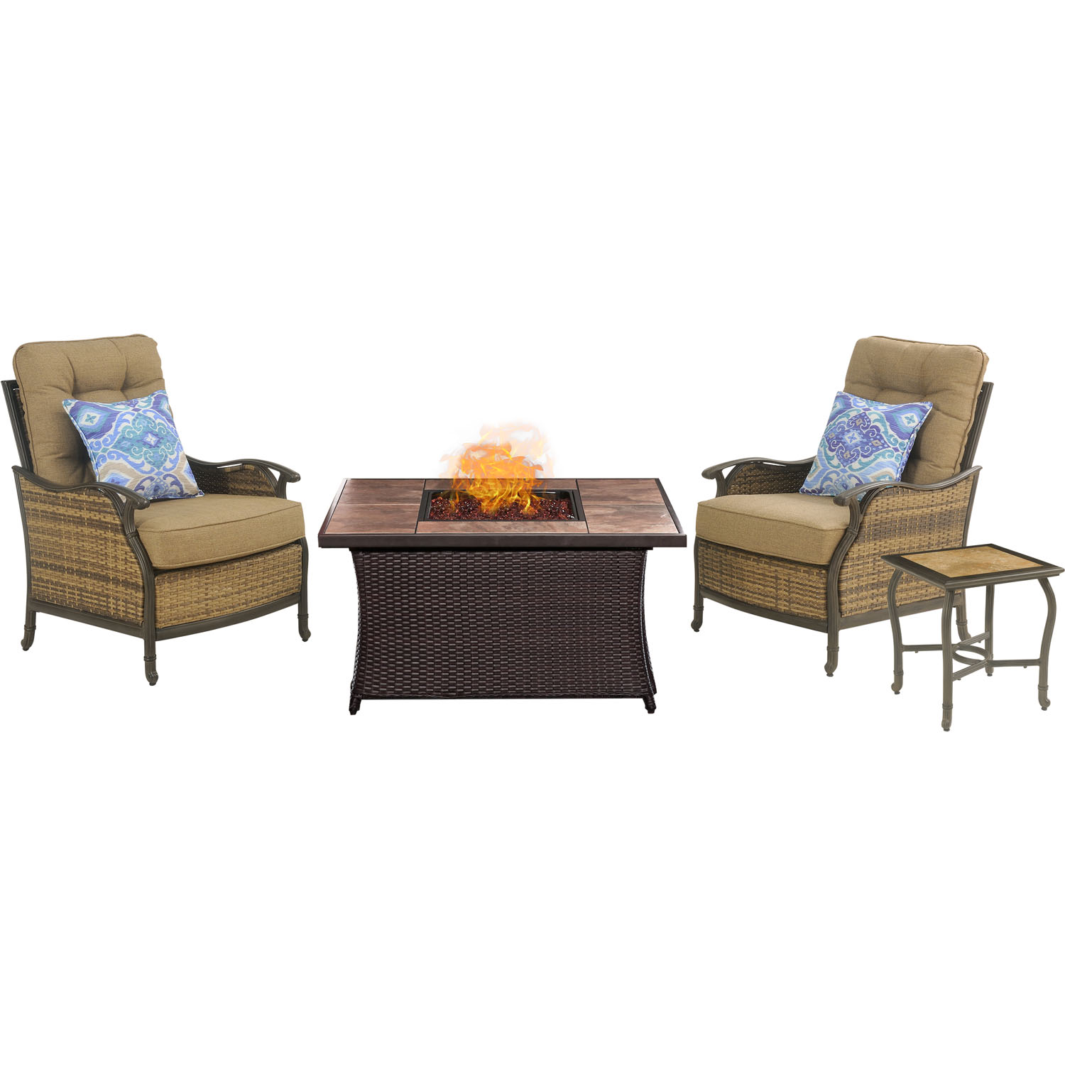 Hanover Hudson Square Fire Pit Chat Set with Faux-Stone Tile Top
