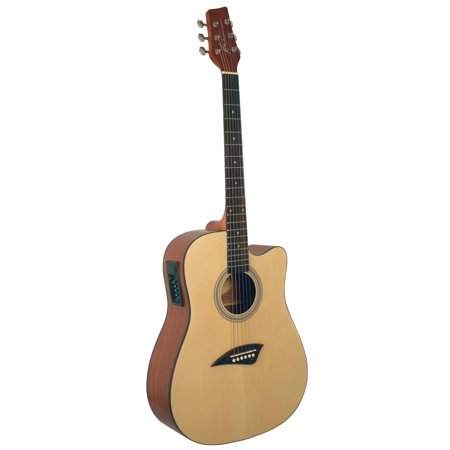 String Natural Finish Dreadnought Guitar (Kona K1E Acoustic-Electric Dreadnought Cutaway Spruce Top Guitar With Natural-Gloss Finish )