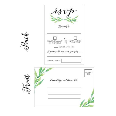 Halloween Wedding Card (50 Floral RSVP Cards, RSVP Postcards No Envelopes Needed, Response Card, Blank RSVP Reply, RSVP for Wedding, Rehearsal Dinner, Baby Shower, Bridal, Birthday, Engagement, Bachelorette Party)