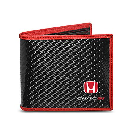 Honda Civic Si Real Premium Black Carbon Fiber Wallet with Red Stitched