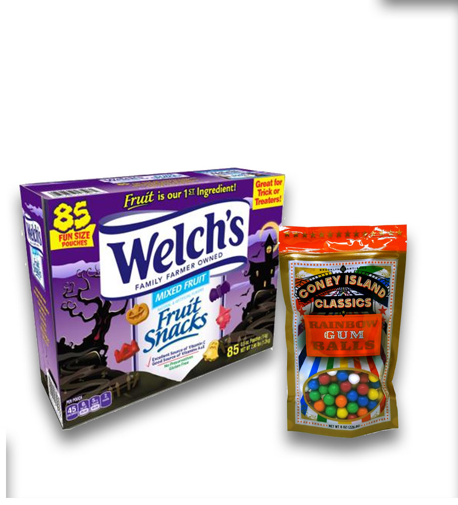 Delicious Welch's Fruit Snacks - 85 pack Plus 8oz Coney Island Rainbow Gumballs Perfect For All Ocassions Halloweeen, Back to school, Thanksgiving, Christmas, New Years,Valentines day