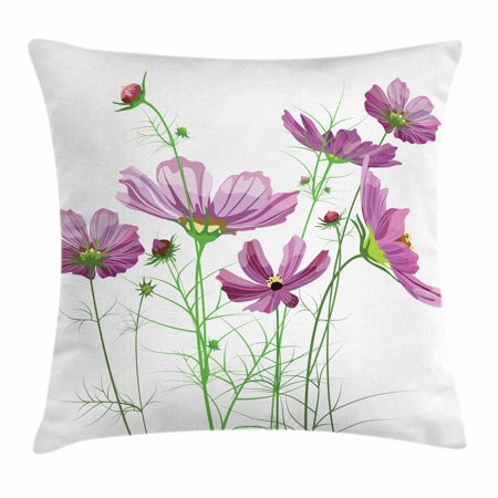 Decorative Elements - Green Flower Throw Pillow Cushion Cover, Cosmos Bipinnatus Pattern Spring Season Flora Asteraceae Bloom Botany Element, Decorative Square Accent Pillow Case, 20 X 20 Inches, Lilac Green, by Ambesonne