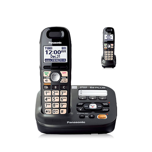 Panasonic KX-TG6592T DECT 6.0 Plus 1.9GHz 2 Expandable Handset Cordless Phone W/ Big Button Amplified Phone