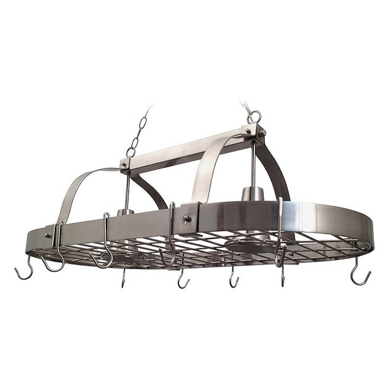 Elegant Designs Home Collection 2 Light Kitchen Pot Rack with Downlights