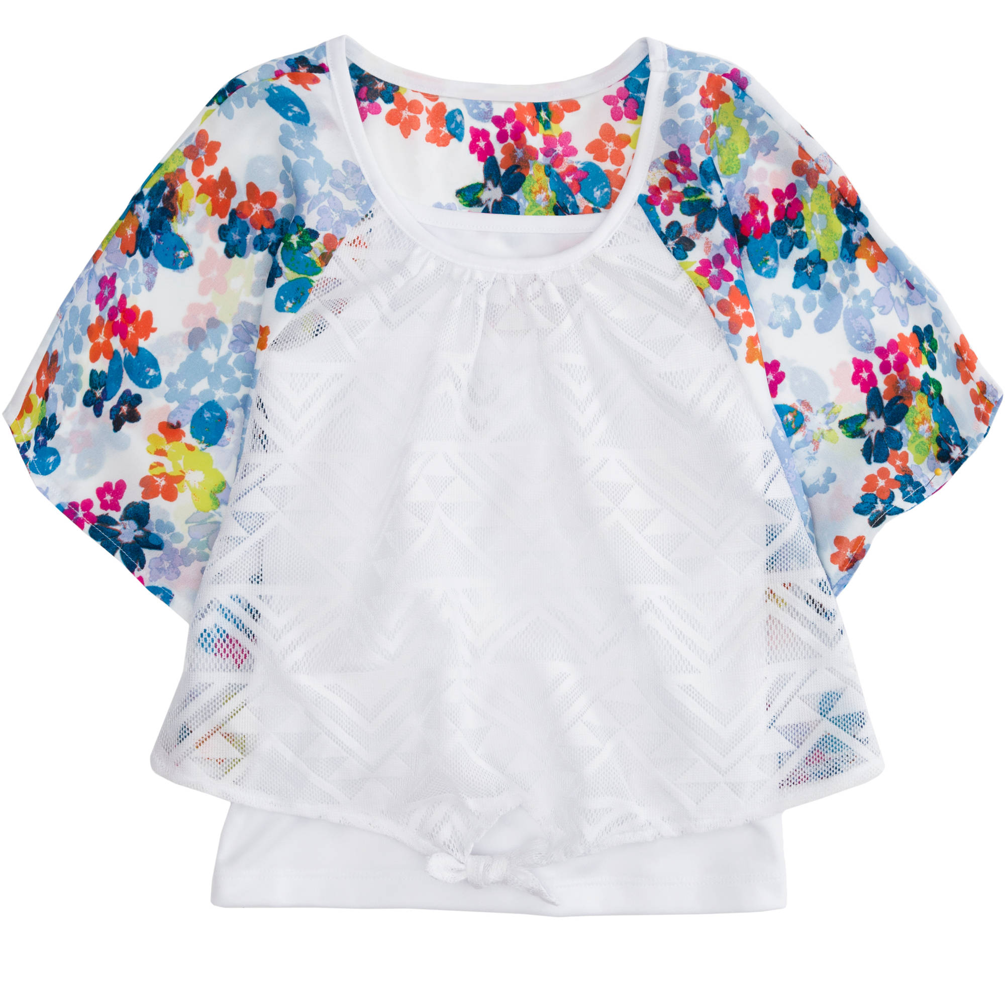 LEI Girls' Tie Front Circle Top