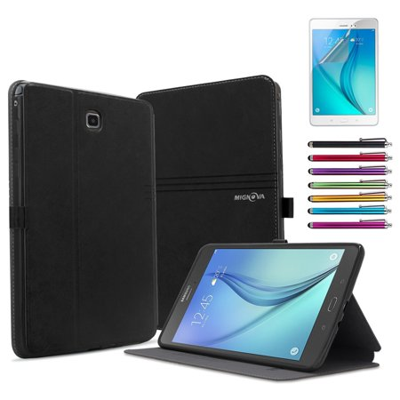 Galaxy Tab A 8.0 Case, Mignova Slim-Fit with Auto Sleep/Wake Feature Case Cover for Samsung Galaxy Tab A 8.0 inch Tablet T350 P350 +Screen Protector Film and Stylus Pen (2nd Black) ()