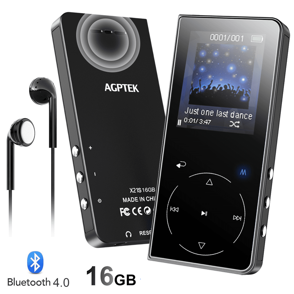 16GB MP3 Player with Bluetooth Speaker, AGPTEK Touch Button Lossless Music Player with FM Radio, Voice Recorder