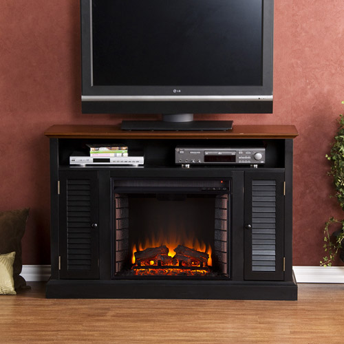 Southern Enterprises Wiltshire Electric Fireplace Media Console for TVs up to 48;, Black