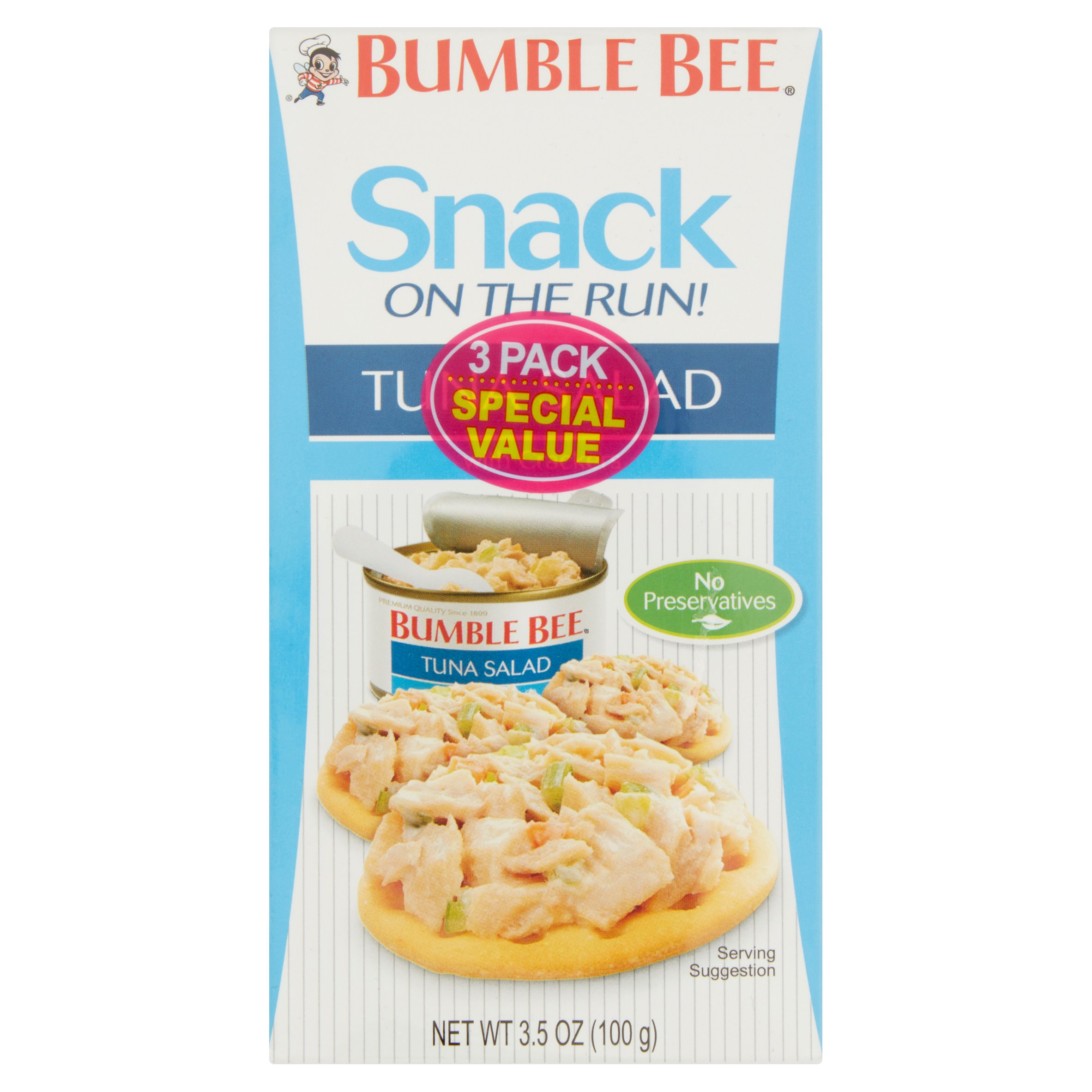 (2 Pack) Bumble Bee Snack on the Run! Tuna Salad with Crackers, Good Source of Protein, 3.5 oz Kit, Pack of 3