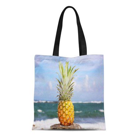 ASHLEIGH Canvas Bag Resuable Tote Grocery Shopping Bags Green Plantation Pineapple Oceanfront Tropical Island Yellow Rum Beach Brazil Tote Bag - Pineapple Rum