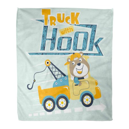 Baby Bear Flannel (ASHLEIGH Flannel Throw Blanket Cap Baby Cartoon of Bear on Tow Truck Soft for Bed Sofa and Couch 50x60 Inches)