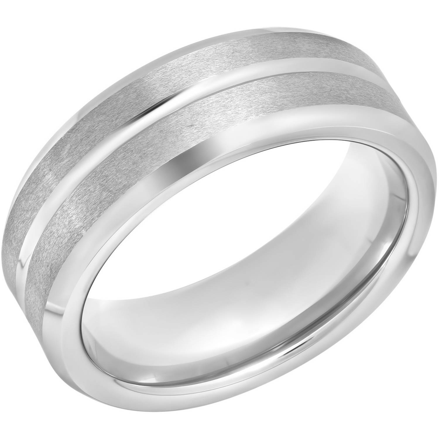 Mens Tungsten 8MM Satin and High Polish Grooved Wedding Band