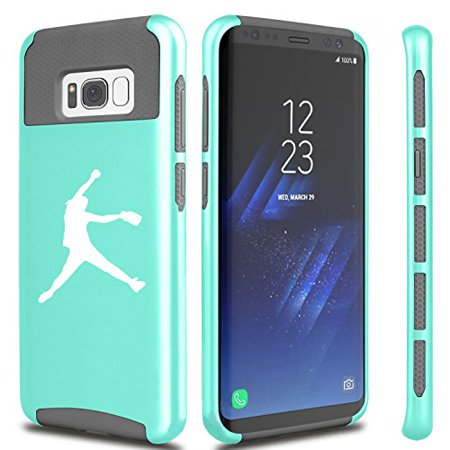 For Samsung Galaxy Shockproof Impact Hard Soft Case Cover Female Softball Pitcher (Teal For Samsung Galaxy