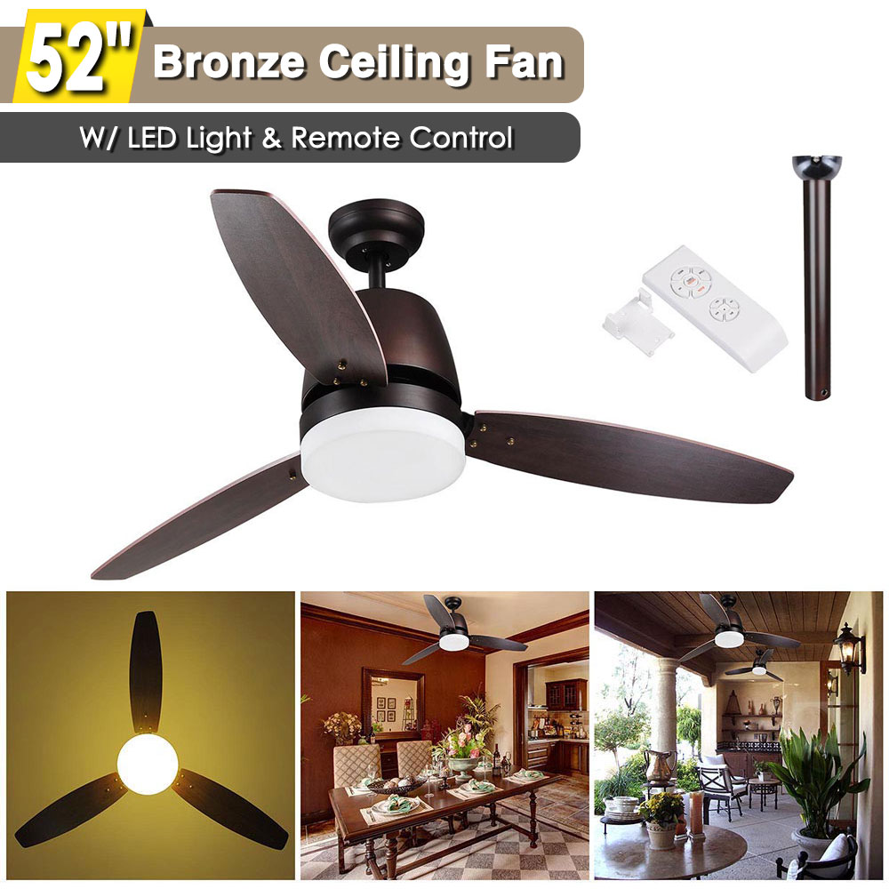 52 Bronze Ceiling Fan With Led Light And Remote Control 3 Blades Color Changing Room Home Decoration Maple Walmart Com Walmart Com