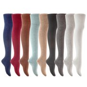Lovely Annie Big Girl's 3 Pairs Fashion Thigh High Cotton Socks Over the Knee High Leg Wamers A2JMYP1025 Size L/XL(Cream, Beige, Blue)