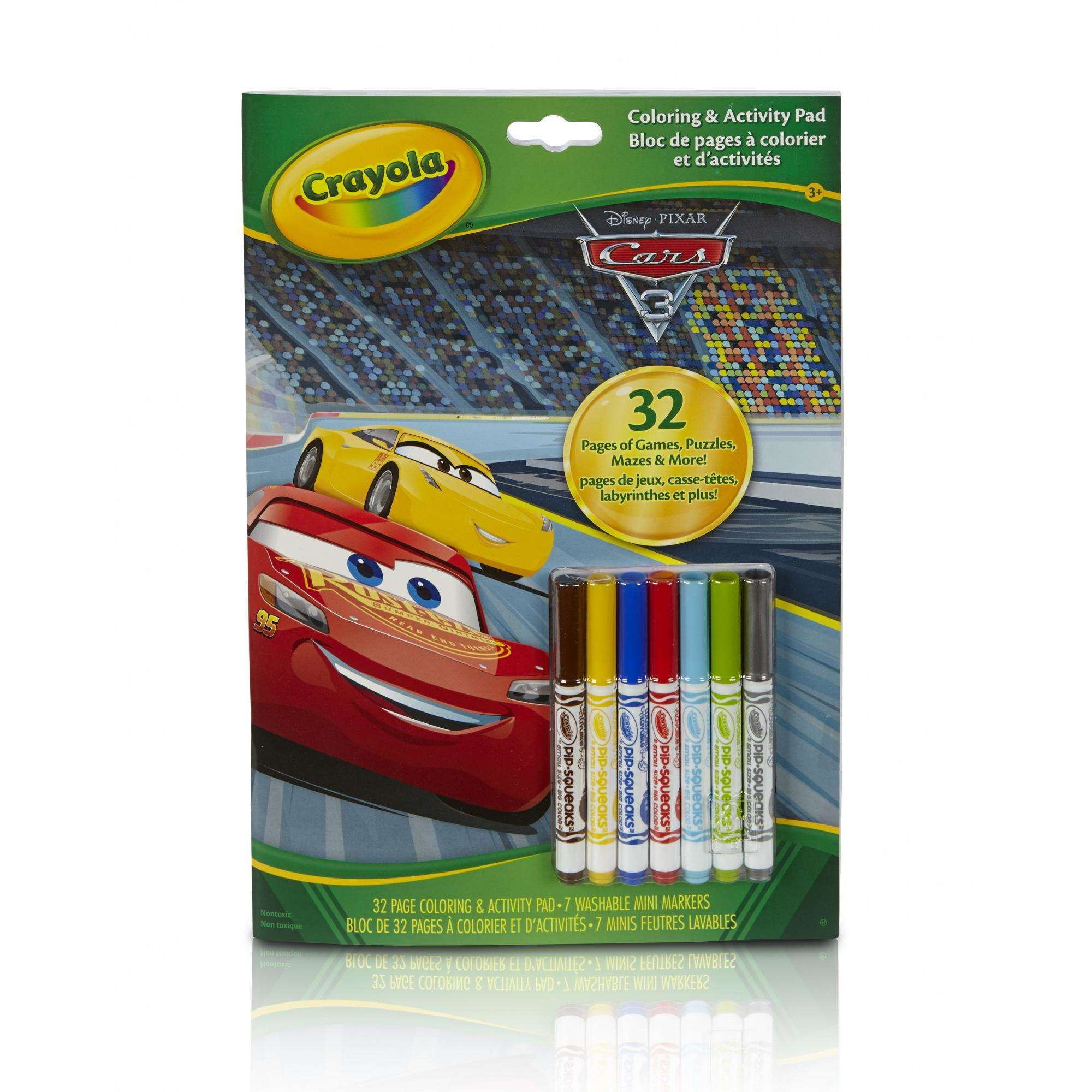 Crayola Cars Coloring & Activity Book, 32 Pages, 7 Mini Markers by Crayola