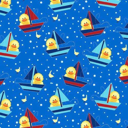 "Duckie Ducks Sailboats 44"" Cotton Fabric Print"
