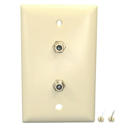 Metal Jack Plate (P&S Lt Almond Dual Coax CATV Wallplate Duplex Video Jack F-Connector TPCATV2-LA)