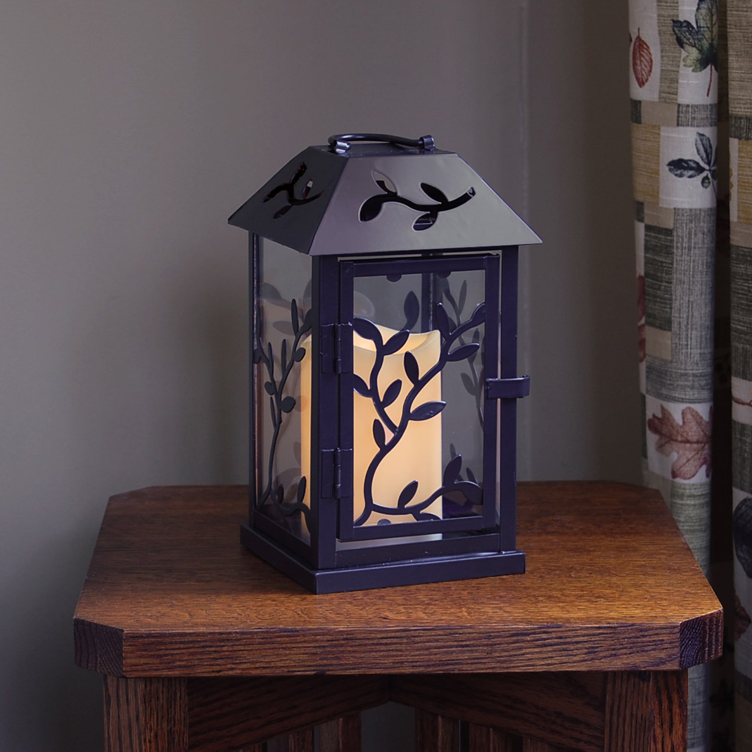 Metal Lantern with LED Candle, Black Vine