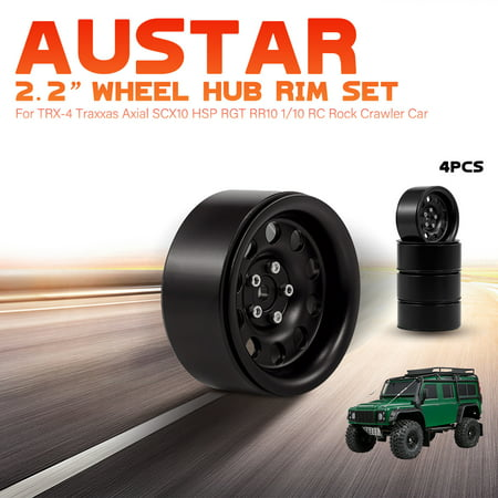 4pcs AUSTAR 2 2'' Metal Wheel Hub Rim Set for -4 Traxxas Axial SCX10 HSP  RGT RR10 1/10 RC Rock Crawler Car