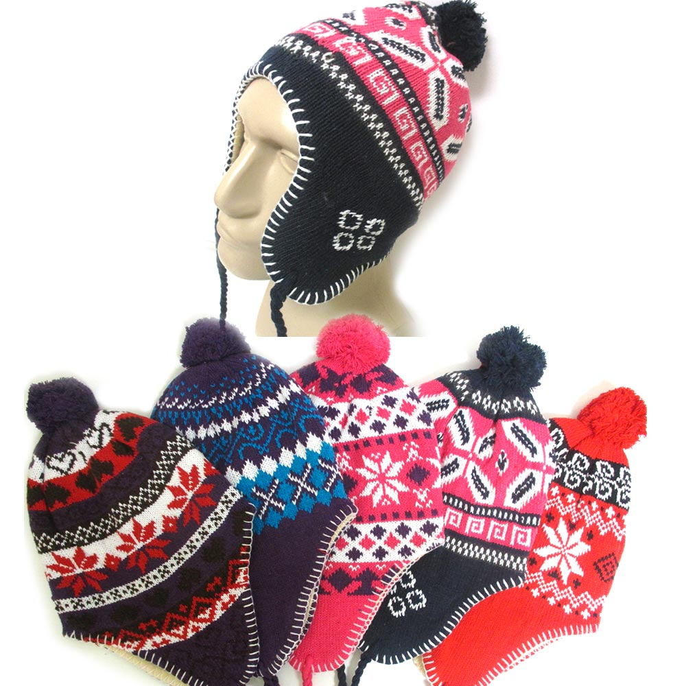 57863e3d17a AllTopBargains - 1 Unisex Peruvian Winter Ear Flap Muff Ski Hat Kids Teens  Skully Beanie Cap Snow - Walmart.com