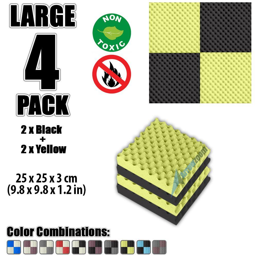 """Arrowzoom New Black and Yellow 9.8"""" x 9.8"""" x 1.1"""" Convoluted Egg Crate Tile Acoustic Studio Sound Absorption Foam, 4-pcs"""
