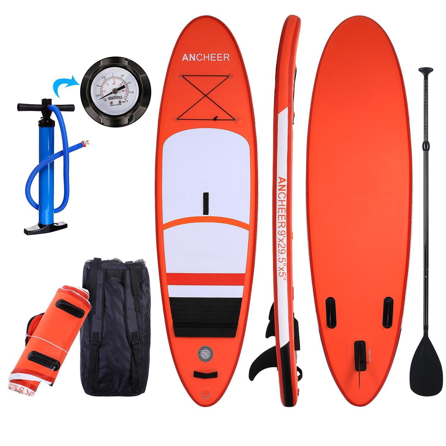 """Ancheer Hifashion 10' 6"""" Inflatable Stand Up Paddle Board SUP w/ Adjustable Paddle Travel Backpack,Blue Sup Inflatable Paddle Boards HFON12"""