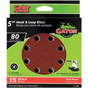 Gator 4142 Random Orbit Sanding Disc, 80-Grit, Medium Grade, Aluminum Oxide, 5 in Dia