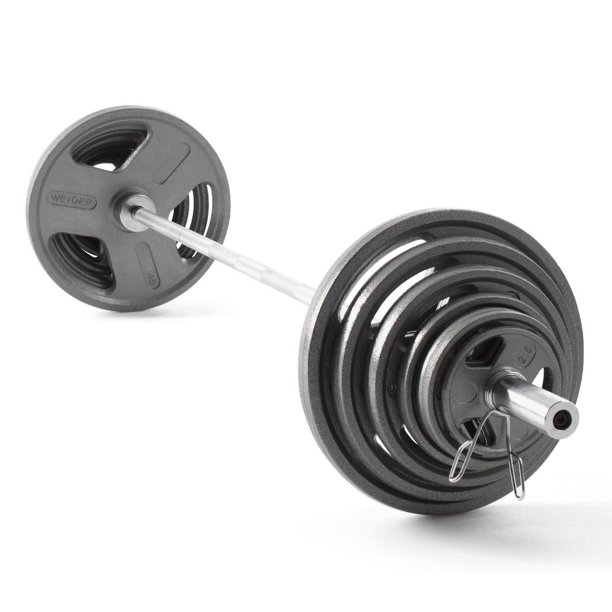 Weider Cast Iron Olympic Hammertone Weight Set 210 Lb Or 300 Lb With Barbell And Spring Collar Clips Walmart Com Walmart Com